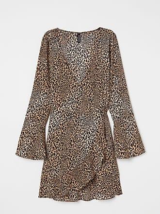 H&M Crêped Wrap-front Dress - Beige