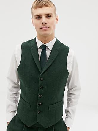 Asos Veston de costume de mariage slim en laine mélangée - Vert motif  chevrons - Vert 6a771f759bb