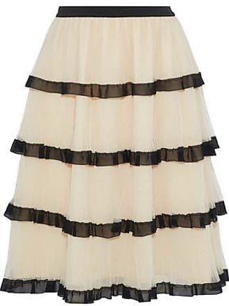 67f82a787bcd48 Red Valentino Redvalentino Woman Tiered Chiffon-trimmed Tulle Skirt Beige  Size 40