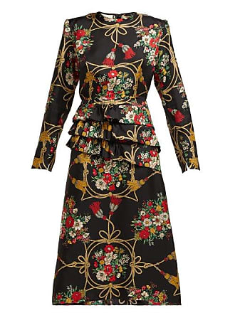 be733e628 Gucci Intrigue Floral Print Silk Twill Midi Dress - Womens - Black Multi