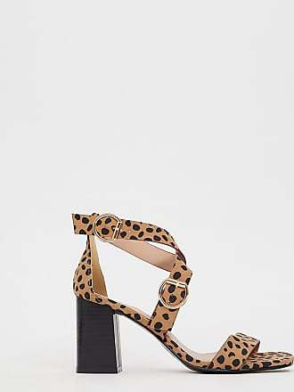 0b5a550bc3 New Look wide fit pu multi strap block heeled sandal in animal print - Stone