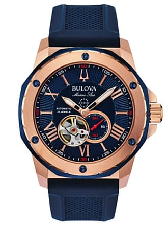 Zales Mens Bulova Marine Star Automatic Rose-Tone Strap Watch with Blue Skeleton Dial (Model: 98A227)