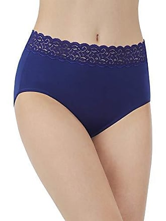 Vanity Fair Womens Flattering Lace Cotton Stretch Brief Panty 13396, Times Square Navy, Large/7