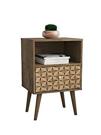 Manhattan Comfort 203AMC97 Liberty Nightstand, Rustic Brown/3D Brown