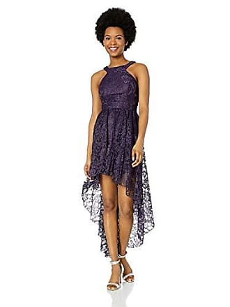 262733da6589 Speechless Juniors High-Low Lace Cutaway Neck Prom Dress, Eggplant, 3