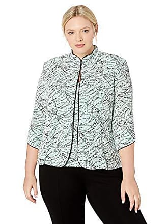 Alex Evenings Womens Plus Size Printed Twinset with Tank Top and Jacket, Fresh Mint, 1X