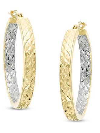 Zales Diamond-Cut Inside-Out Hoop Earrings in 14K Two-Tone Gold