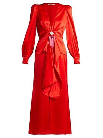 f17b4424edb Alessandra Rich V Neck Crystal Embellished Silk Satin Dress - Womens - Red