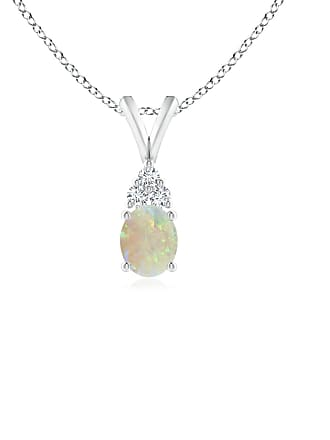 Angara Valentine Day Sale - Oval Opal Solitaire Pendant with Trio Diamond