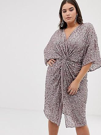 Asos Curve ASOS DESIGN Curve - Vestito midi stile kimono con nodo sul  davanti e paillettes 0bb7a01637e