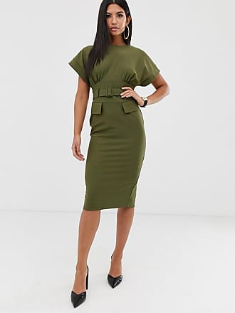 Asos belted midi utility pencil dress - Green
