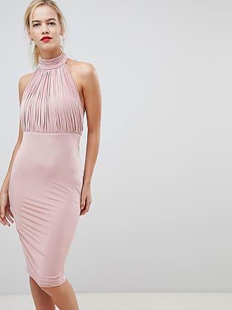 City Goddess Plisserad klänning med hög krage - Beige 6c31ae8a87818