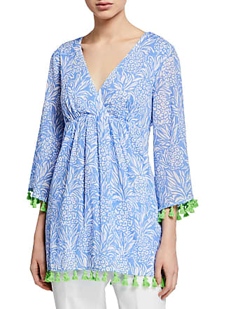 735cdc21a2c Sail to Sable Tropical 3/4-Sleeve Shirred Tunic Tassel Top