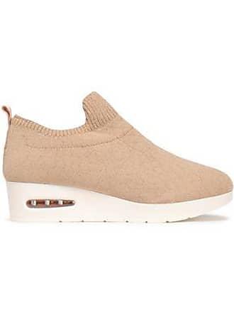 de9fbdab11b DKNY Dkny Woman Metallic Stretch-knit Wedge Slip-on Sneakers Sand Size 7.5