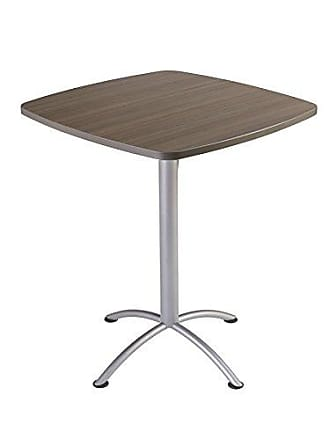 Iceberg 69757 iLand Meeting/Conferencing Table, Edgeband, 36 Square, 42 Height, Natural Teak, Silver Base