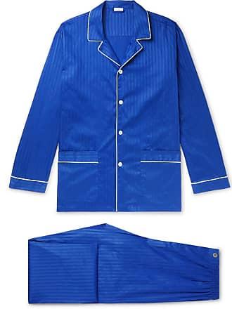 Zimmerli Piped Striped Cotton Satin-jersey Pyjama Set - Storm blue 7ea97ae5806b0