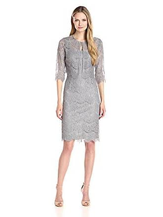 4f1783d68ced Alex Evenings Womens Tea Length Dress and Jacket (Petite and Regular  Sizes), Silver