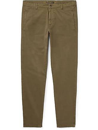 Aspesi Slim-fit Tapered Garment-dyed Cotton-twill Drawstring Chinos - Green