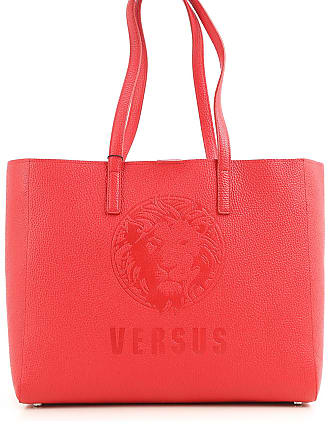 Versace Tote Bag On Sale in Outlet, Embossed Lion Leather, coral red, Calf Leather, 2017, one size