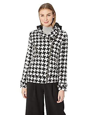 Yoki Womens Houndstooth Print Short Wool Jacket, Black/White, XL