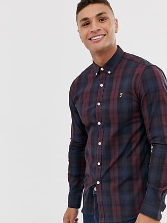 Farah Brewer - Schmales Hemd in Rot mit Schottenkaros