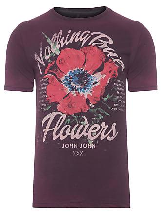 John John T-SHIRT MASCULINA BUT FLOWERS - ROXO