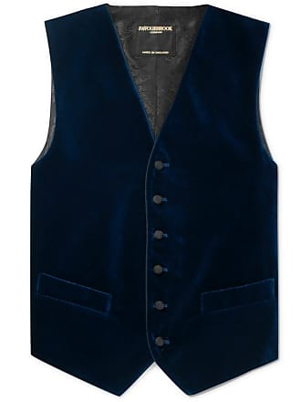 Favourbrook Navy Slim-fit Grosgrain-trimmed Cotton-velvet Waistcoat - Blue