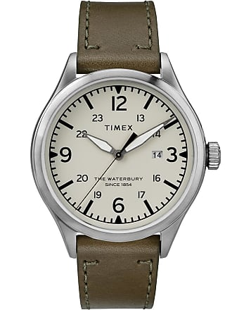 Timex Watch Mens Waterbury Traditional 40MM Leather Strap Stainless Steel/green/cream Item Tw2R71100Vq