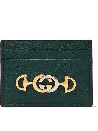 4e24c30d3fe Gucci Zumi Embellished Textured-leather Cardholder - Dark green