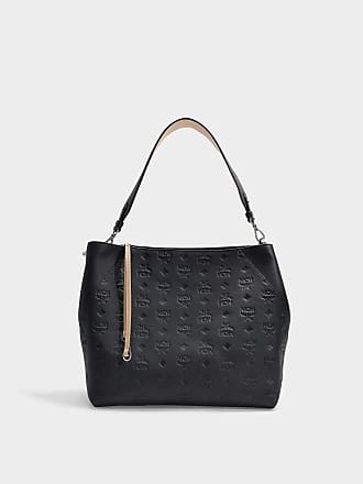 91c0a1e05063c MCM Klara Monogrammed Leather Hobo Medium bag in Black Leather