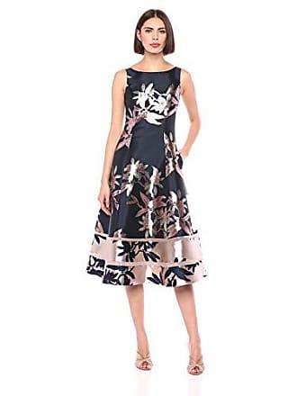 Adrianna Papell Womens Short Jacquard Dress, Navy/Blush, 2