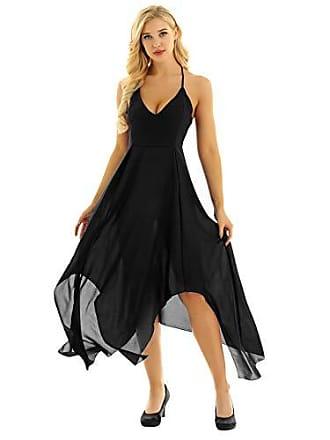 7fed50a07e46e7 TiaoBug Damen Kleid Abendkleid Schulterfreies Cocktailkleid V-Ausschnitt  Sommerkleid Rückenfrei Skaterkleid Knielang Elegant Festlich unregelmäßiges