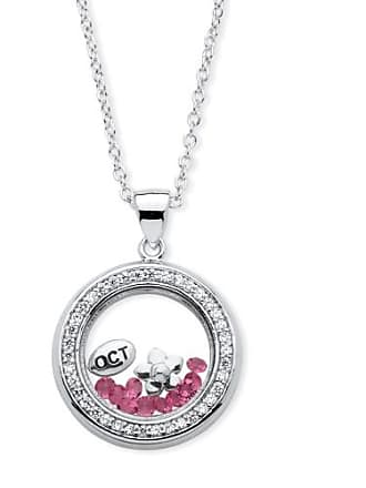 PalmBeach Jewelry 46 TCW Birthstone and CZ Floating Charm Pendant MADE WITH SWAROVSKI ELEMENTS in Silvertone - October- Simulated Tourmal