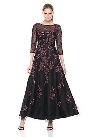 Aidan Mattox Womens Long Sleeve Embroidered Gown with Beading, Burgundy/Multi, 0