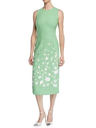 d1f6bd1d5e Oscar De La Renta Jewel-Neck Sleeveless Floral-Embroidered Sheath Midi Dress