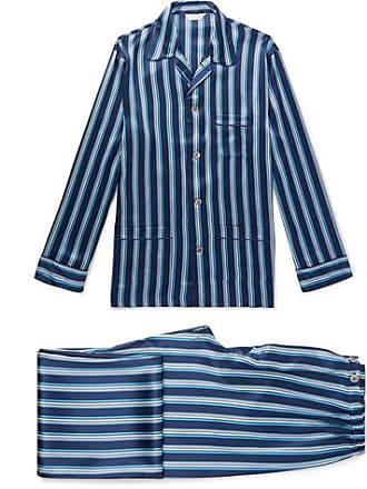 2b6702e0f3 Derek Rose Brindisi Striped Silk Pyjama Set - Navy