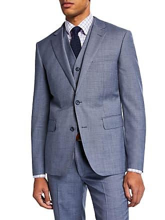 Neiman Marcus Mens Sharkskin Vested Three-Piece Suit