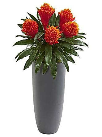 Nearly Natural 8552 31 Bromeliad Artificial Gray Planter Silk Plants Red/Green