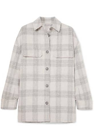 Vince Checked Wool-blend Flannel Jacket - Light gray