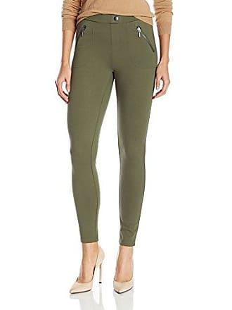 Kensie Jeans Womens Ponte Dual Front Zipper Pant, Dark Moss, M