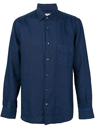 Aspesi Camisa slim de linho - Azul