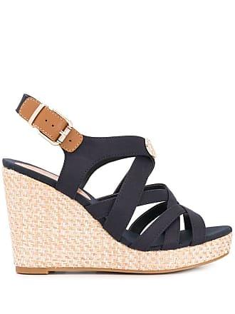 Tommy Hilfiger sandales à brides et talon compensé - Bleu 44d8e44818
