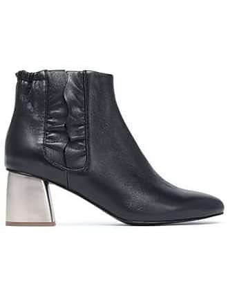 Jil Sander Jil Sander Navy Woman Ruffle-trimmed Leather Ankle Boots Black Size 35
