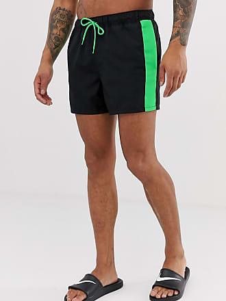 c10d5bfa0c Asos Short de bain court à bande contrastée vert fluo sur le côté et cordon  de