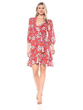 Donna Morgan Womens Long Sleeve Chiffon Wrap Dress, Clay red/Shell Pink/Multi, 10