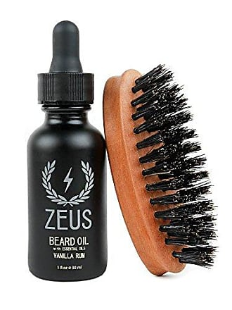 Zeus Beard Oil Natural Conditioner Softener Kit With 100% Boar Bristle Brush, Vanilla Rum