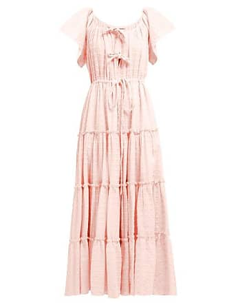 Innika Choo Geometric Embroidered Tired Cotton Midi Dress - Womens - Light Pink