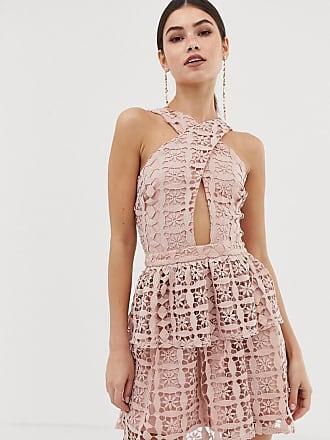 Girl in Mind Miniklänning i halterneck-modell med spetskjol-Rosa