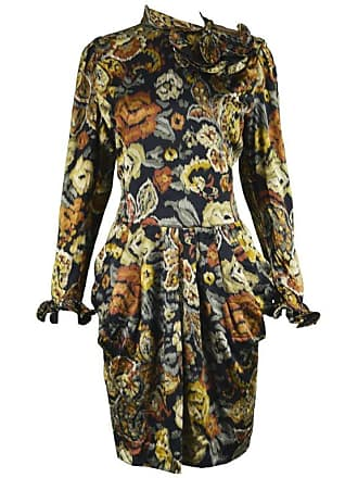 4be3bdc841 Louis Féraud Vintage 1980s Long Sleeve Floral Ruffle Silk Satin Cocktail  Dress