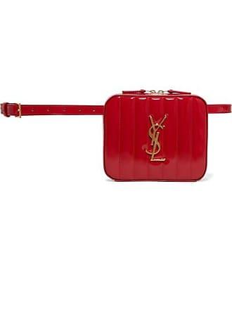 Saint Laurent Vicky Quilted Patent-leather Belt Bag - Claret